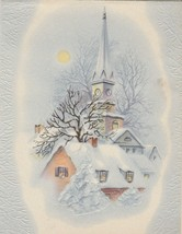 Vintage Christmas Card Church in Snow 1940's Pale Blue Background - $7.91