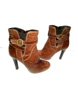 Bosi Women's Boots Brown Leather Zip Up Ankle Booties Heels EU 39/US 8.5 - $49.32