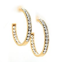 UNITED ELEGANCE Gold Tone Hoop Earrings With Sparkling Swarovski Style Crystals  image 2
