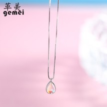 Gemei 100% 925 Sterling Silver Natural Stone Moonstone Water Drop Neckla... - $23.71
