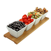 Elama Signature Modern 5pc Appetizer and Condiment Server with 4  Servin... - $40.77
