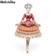 Red Enamel Princess Fairy Brooch Ballet Girl Banquet Dress Suits Scarf W... - $39.84
