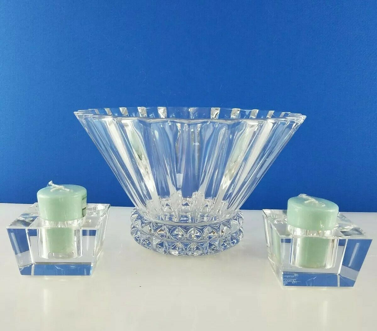 "Primary image for 3pc Rosenthal Crystal Blossom 10"" Centerpiece Bowl w Studded Base & Candlesticks"