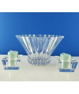 """3pc Rosenthal Crystal Blossom 10"""" Centerpiece Bowl w Studded Base & Cand... - $37.62"""