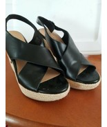 Vintage American Eagle Wedges/ Espadrilles Sandals Size 7.5 Black - $17.13
