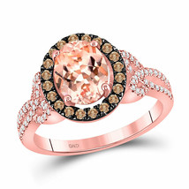 10kt Rose Gold Womens Oval Morganite Brown Diamond Solitaire Ring 2-1/3 ... - £683.96 GBP