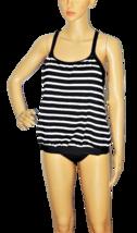 NEXT Black and White Striped Blousan Style Swimsuit Top Size 34 B/C