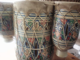 Spanish Bongo three drums very colorful heavy clay antique vintage - $220.00