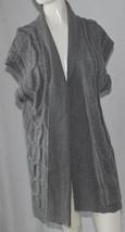 Dress Barn Sweater Cardigan Womens Plus 1X Light Gray Open Front Chunky S/S - $10.37