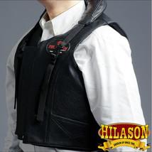 Bull Riding Vest Hilason Leather Bareback Pro Rodeo Black U-V101 - $148.95
