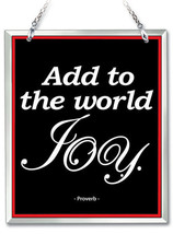 """Add To The World JOY Sun Catcher Proverb Hand Painted Beveled Glass 6"""" H... - €16,22 EUR"""