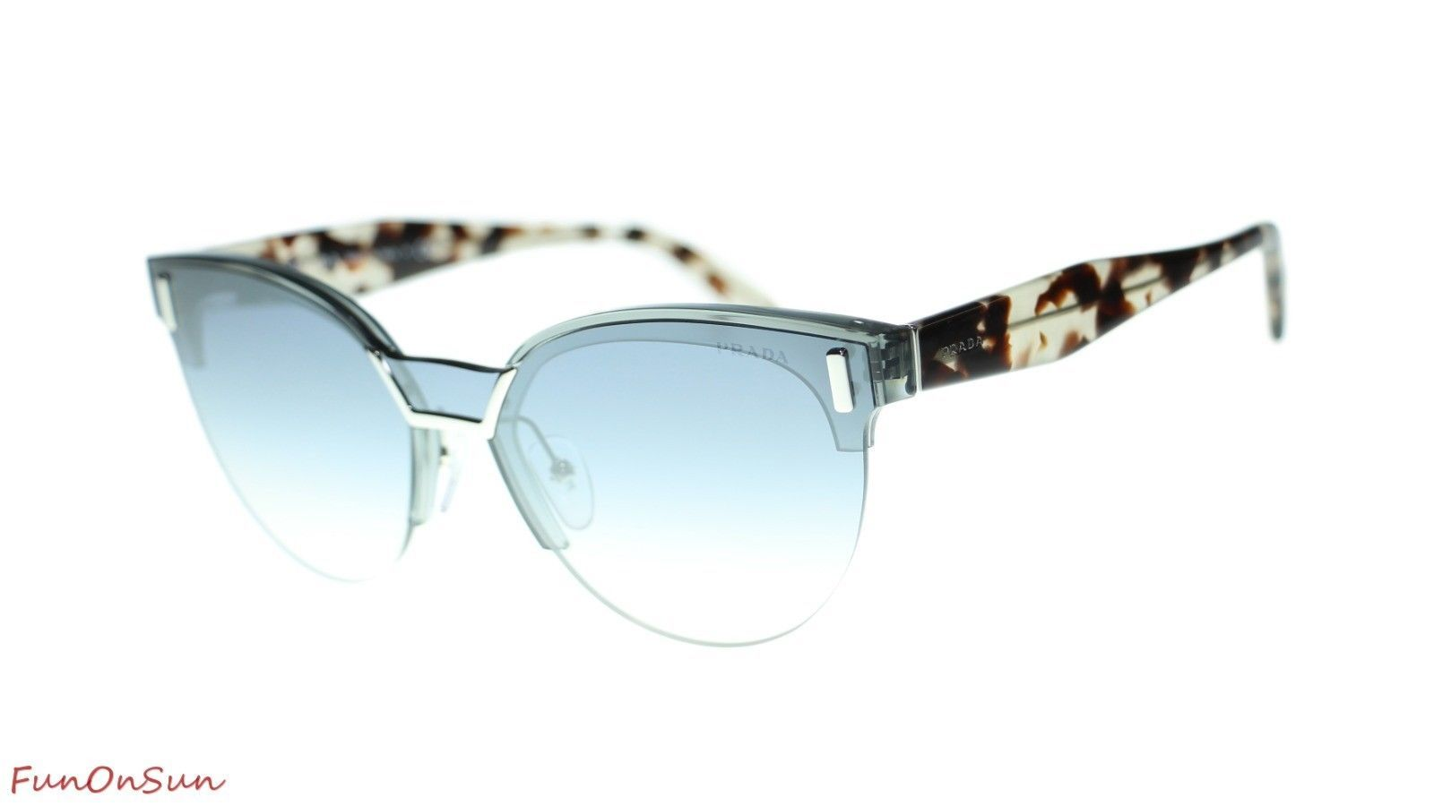 Prada Sunglasses PR04US VIP5R0 Transparent Grey/Gradient Blue Mirror Silver Lens