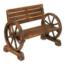 #10012690   *Rustic Brown Wood Wagon Wheel Bench* - $225.50