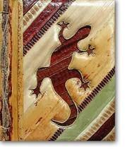 Leaf Notebook Journal Hand Crafted Bali Gecko Lizard Natural New! - $12.20