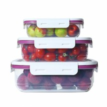3 Pack Rectangular Food Storage Container Set w/Lids Organizer Stackable... - $19.79