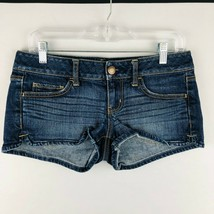 American Eagle Womens 4 Denim Jean Shorts Medium Wash Stretch Whiskering  - $25.73