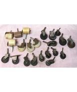 Lot 22 Vintage Industrial Castors Wheels All Shapes Sizes 1 1/2 - 2 3/4 ... - $39.59