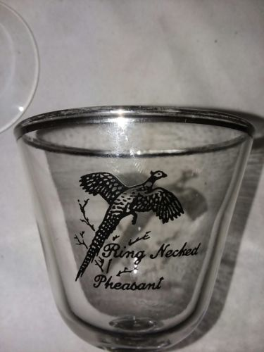 6 Sportsman By Federal Glass Liquor Cocktail Platinum Trim Game Birds 5 1/4 in