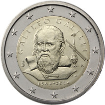 Italy 2014 UNC 450th Years since the Birth of Galileo Galilei, 2 euro coin, - $4.70