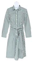 J Crew Women's Tie Waist Shirt Dress Cotton Blue Green and White Stripes 4 H7791 - $82.79