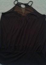 Anthropologie Deletta Navy/Marin Sleeveless W/Shimmery Sheer Gold  Blouse Top - $30.49