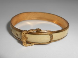 Victorian Baby Buckle Bracelet Bangle Brass & Celluloid Antique - $28.50
