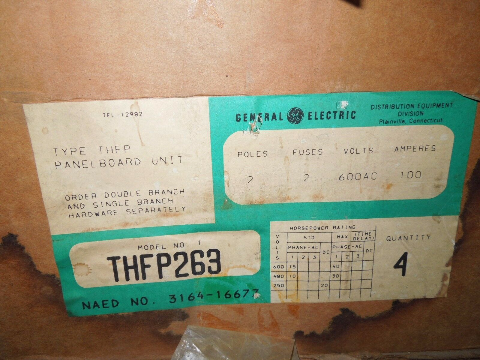 Primary image for 4- GE THFP263 100A 2p 600V Fused Panelboard Switch Surplus in One Box