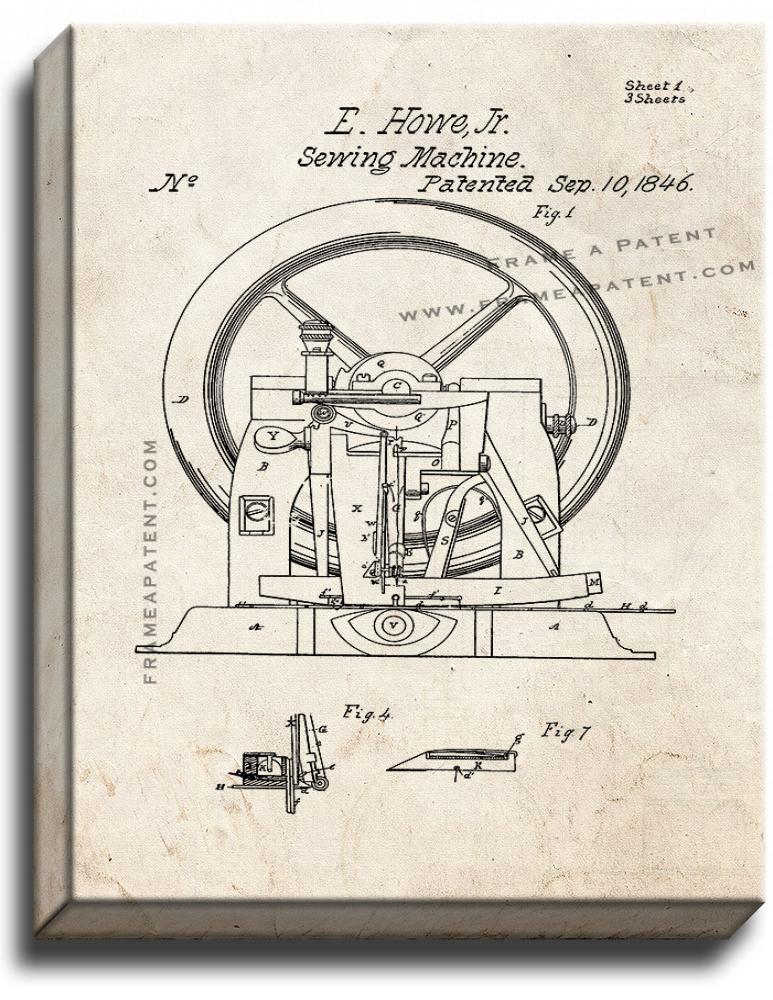 Primary image for Sewing Machine Patent Print Old Look on Canvas