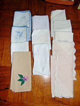 Vintage 12 New & Used Cloth Napkins-Lace-Embroidery-Crocheted-Quilting-P... - $10.40