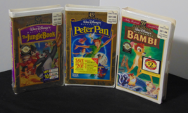 Vintage Disney VHS lot Bambi, Peter Pan, & The Jungle Book Factory Sealed - $30.00