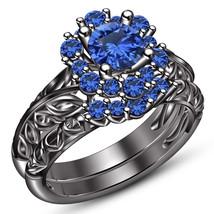 Black Rhodium Finish Pure 925 Silver Blue Sapphire Engagement Bridal Rin... - $99.86
