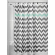 InterDesign Chevron Shower Curtain, 72 x 72-Inch, Gray/Aruba Standard New - $18.73