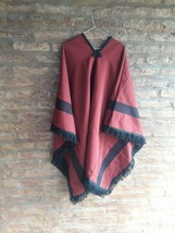 scarf Argentinian poncho cape Guemes style black and Burgundy color  - $58.41