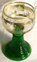 Vintage T.S. Hanseatic Passenger Ship Souvenir Roemer Wine Glass Green/Gold - $30.00
