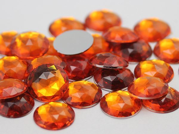 18mm Orange Hyacinth H125 Flat Back Round Acrylic Gems - 30 Pieces