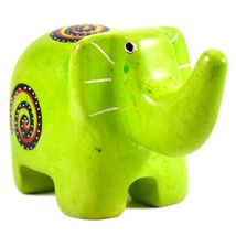 SMOLArt Hand Carved Soapstone Lime Green Elephant Figurine Made in Kenya image 4