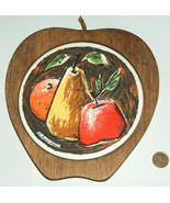 VTG Fred Press Sere Mid Century Modern Wood Apple Pear Kitchen Trivet Ti... - $24.73