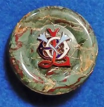 Natural Moss Agate Stone Brooch Unusual Nautical Hand Enamelled For Shaw... - $53.34