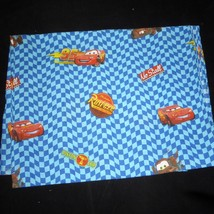 Disney Pixar Cars Lightning McQueen Blue Checked Twin Top Sheet - $19.75