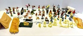 50+ Vintage Collectible Soldiers Cowboys Indians w/ Horses Tent & Animal... - $69.99