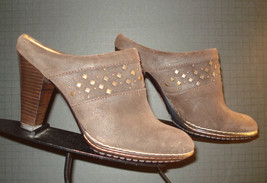 Sofft Waxed Brown Leather Brass Tack Heeled Bootie Mules Sz 8M MINTY! - $33.96