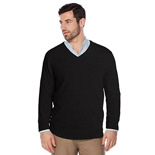 Berlioni Italy Men's Slim Fit Microfiber V-Neck Dress Pullover Sweater (XL, Blac