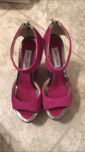 JIMMY CHOO Platform Wedge Suede Sandals in Magenta; PRISTINE CONDITION - $244.02