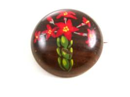 Vintage Handmade Eastern European Hand Painted Flower Brooch - $24.99