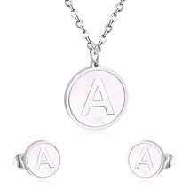 LUXUKISSKIDS Stainless Steel 26 Letter Alphabet Jewelry Set Silver Penda... - $13.14