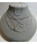 5 PC Lot Sterling Silver Hearts Locket Pendant Short Length Necklaces 16... - $29.70