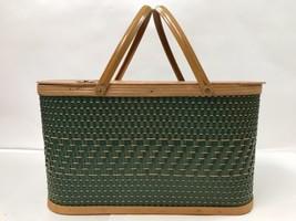 Vintage Hawkeye Burlington Woven Wicker & Wood Picnic Basket Iowa Green ... - $49.99