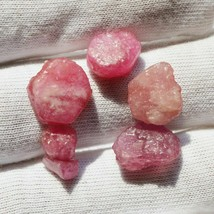 Natural Ruby Rough Gemstone 5 Pcs Rock Red Ruby Gemstone Cabochon Wholes... - $13.44