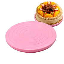 Cake Stand Turntable Plastic Base Manually Rotating Round Shaped Decorat... - $9.40