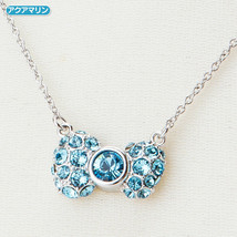 Hello Kitty x SWAROVSKI 40th Anniversary Ribbon Necklace Aquamarine 2014 Sanrio - $63.69